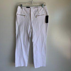 INC Bright White Crop Pants Zip Detail, Sz 6P ~NEW